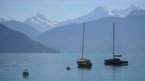 Barcos que flutuam no lago Thun video estoque