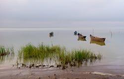 Barcos a remos velhos no lago Foto de Stock