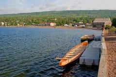 Barcos, superior de lago foto de stock