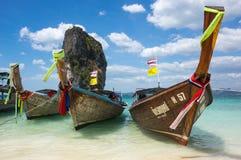 Barcos tailandeses tradicionales de la cola larga Imagen de archivo libre de regalías