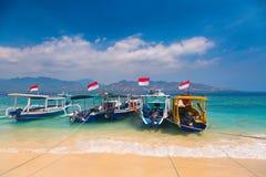 Barcos tropicales de la playa Imagen de archivo libre de regalías