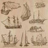 Barcos - un paquete dibujado mano del vector Imagenes de archivo