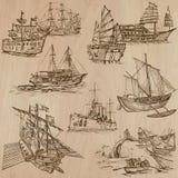 Barcos - un paquete dibujado mano del vector Foto de archivo libre de regalías