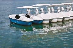 Barcos vazios da cisne do pedal que flutuam no lago do parque público imagens de stock royalty free