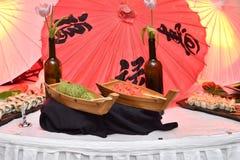 Barcos Wasabi y jengibre del sushi fotos de archivo