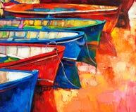 Barcos y embarcadero stock de ilustración