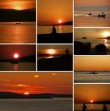 Barcos y gente del collage en puesta del sol Imágenes de archivo libres de regalías