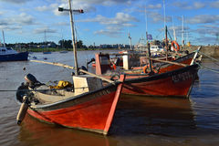 Barcos y nubes Foto de archivo