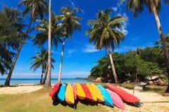 Barcos y palmas de coco coloridos Fotografía de archivo