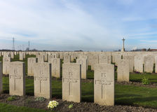 Bard Cottage Cemetery at Ypres, Flanders, Belgium - Landscape. Royalty Free Stock Photography