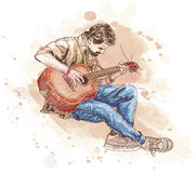 Bard with a guitar. Vector draw stock illustration