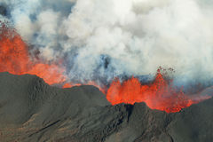 Bardarbunga volcano eruption in Iceland. Aerial view of 2014 Bardarbunga volcano eruption in Iceland, Hawaii Royalty Free Stock Photos
