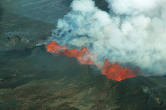 Bardarbungavulkaanuitbarsting in IJsland Stock Foto