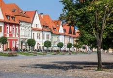 Bardejov,斯洛伐克 老大广场房子 库存照片