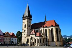 Bardejov, Slovakia: The Bardejov historical center with the Basilica of St. Giles stock images