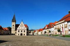 Bardejov, Slovakia: The Bardejov historical center with the old Town Hall and the Basilica of St. Giles stock photos
