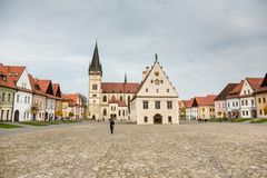 Autumn view of old town market square in Bardejov, Slovakia royalty free stock images