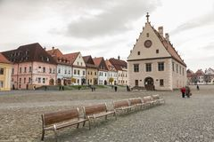 Autumn view of old town market square in Bardejov, Slovakia Royalty Free Stock Photos