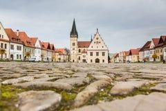 Autumn view of old town market square in Bardejov, Slovakia Stock Photos