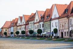 Bardejov, Slovakia. Old main suare houses. Bardejov, Slovakia - AUGUST 09, 2015: Old main square buildings. Renaissance houses with decorative surfaces Bardejov Royalty Free Stock Photo