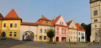 Bardejov - Unesco-stad - oude huizen Royalty-vrije Stock Fotografie