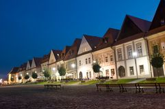 Bardejov - Unesco-stad - panorama in nacht Royalty-vrije Stock Foto's