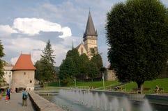 Bardejov - UNESCO-Stadt - Brunnen in der Mittestadt Stockbild