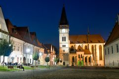 Bardejov - unesco town - panorama in night stock photo