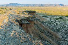 Bardenas reales natural park in summer morning. Navarra Royalty Free Stock Images