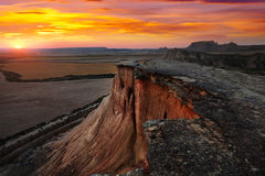 Bardenas reales natural park in  sunset. Navarra Stock Photo
