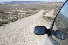 Bardenas Reales Park with Car Wing Mirror; Navarre Royalty Free Stock Photography