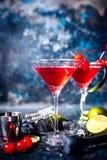 Bardetaljer - alkoholiserad coctail med vodka och gin, kosmopolitisk lång drink i högvärdigt exponeringsglas fotografering för bildbyråer