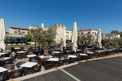 Bardolino attractive old town on the Veronese shore of Lake Garda. Its downtown is lined with shops, bars, restaurants and pizzerias Royalty Free Stock Images