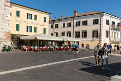 Bardolino attractive old town on the Veronese shore of Lake Garda. Its downtown is lined with shops, bars, restaurants and pizzerias Royalty Free Stock Image