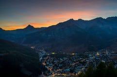 Bardonecchia-Sonnenuntergang Lizenzfreies Stockfoto