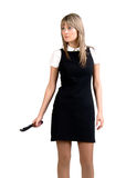 bardziej agresywna kobieta na noże Zdjęcie Royalty Free
