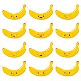 Bardzo śliczna Kawaii banana owoc emocje ustawiać 10 tło projekta eps techniki wektor royalty ilustracja