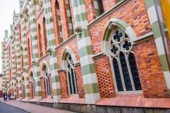Bardzo ładna artystyczna europejczyka stylu fasada czerwień Obraz Stock