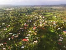 Bardzo ładny widok od okno samolot na wyspie Fiji Zdjęcie Stock