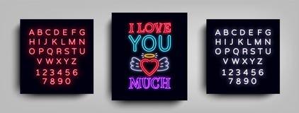 bardzo cię kocham Moda slogan dla drukować Neonowy znak, sieć plakat, sztandar w neonowym stylu Graficzny projekt dla druku ilustracji