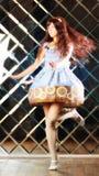 Bardzo delikatna piękna dziewczyna w stylu anime taniec Zdjęcia Stock