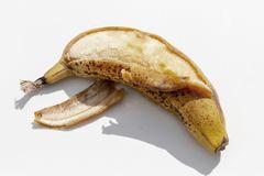 Bardzo dojrzały żółty banan obraz royalty free