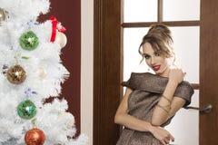 Bardzo elegancka dziewczyna przygotowywająca dla nowego roku przyjęcia Fotografia Stock