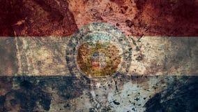 Bardzo Grungy Missouri flaga, Grunge tła tekstura royalty ilustracja