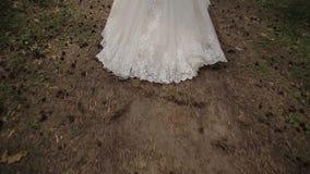 Bardzo piękna suknia chodząca panna młoda odosobniony tylni widok biel zbiory wideo