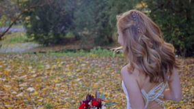 Bardzo piękna wzorcowa dziewczyna chodzi w jesień parku zdjęcie wideo