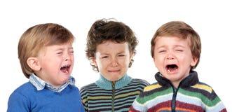 Bardzo smutny dzieci płakać obraz royalty free