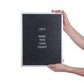 Bardzo stara menu deska 2019 - nowy rok - Fotografia Stock