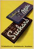 Bardzo stara rocznik reklama dla Milka czekolady w Niemcy podczas 1950s zdjęcia stock