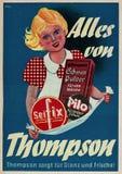 Bardzo stara rocznik reklama dla Thompson cleaning produktów w Niemcy zdjęcia stock